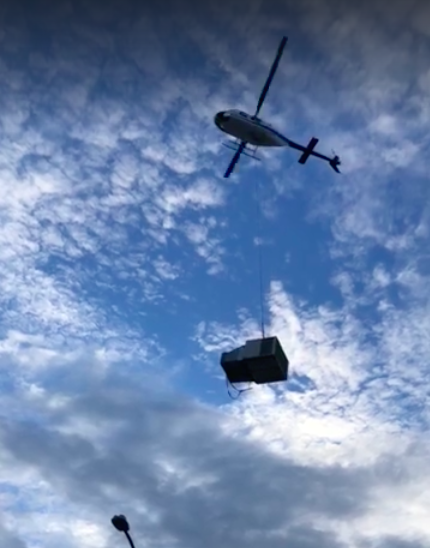 Air conditioning Brisbane helicopter installation