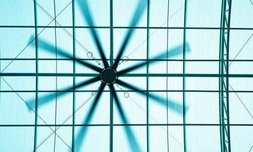 Electric roof fan and the light under translucent roofing